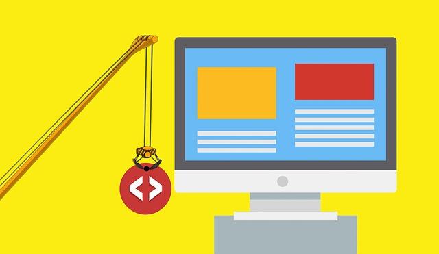 vývoj a tvorba skvělých webových stránek znázorněna jeřábem a počítačovou obrazovkou